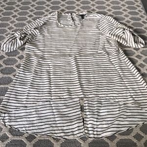 BCBG black and white stripe top size small